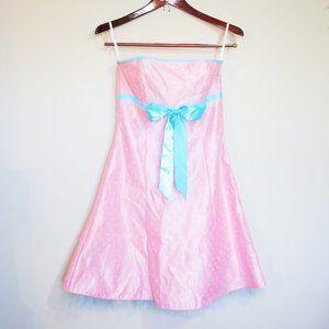Gunne Sax Jessica McClintock pink polka dot dress